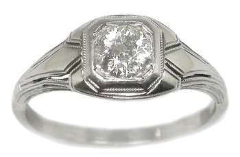 Engagement Rings | Edwardian 0.65ct Diamond 14k White Gold Engagement Ring | New York Estate Jewelry | Israel Rose :  engagement diamond octagon eight