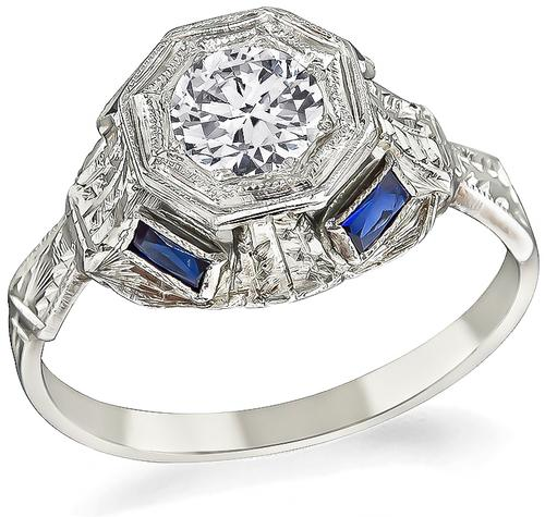 Vintage Old Mine Cut Diamond Sapphire 18k Gold Engagement Ring