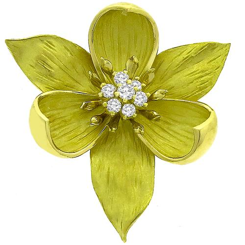 0.50ct Diamond Gold Trillium  Flower Pin/ Pendant