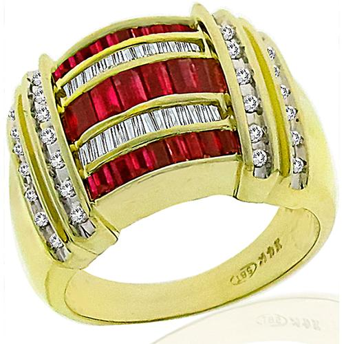 0.80ct Ruby Diamond Gold Ring