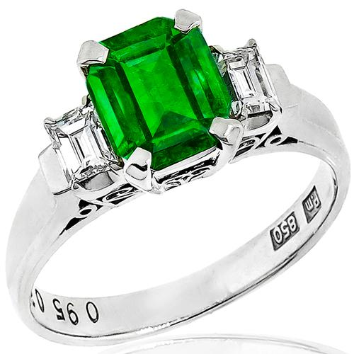 0.95ct Colombian Emerald Diamond Platinum Ring