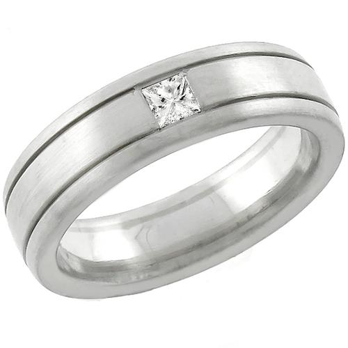 Estate 0.16ct Princess Cut  Diamond Platinum 18k White Gold  Wedding Band
