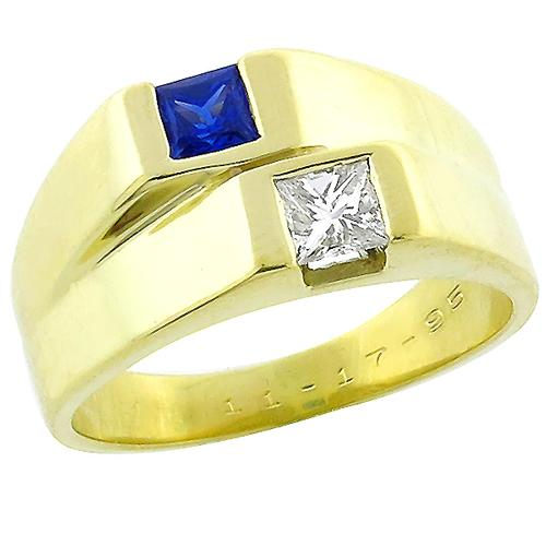 0.50ct Square Cut Sapphire 0.50ct Princess Cut  Diamond 18k Yellow Gold Ring