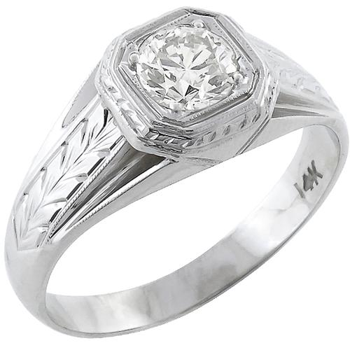 Vintage 0.58ct Old Mine Cut Diamond 14k White  Gold Men's Ring
