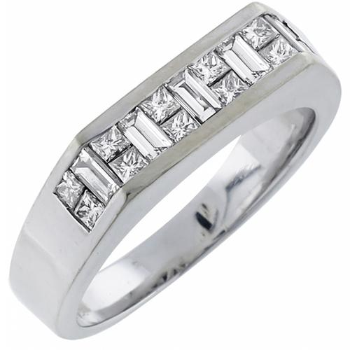 0.60ct Baguette and Princess Cut Diamond 18k White Gold  Band