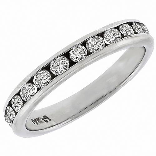 Estate 0.60ct Round Cut Diamond 14k White Gold  Wedding Band