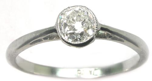 Old Mine Cut Diamond Platinum Engagement Ring GIA Certified