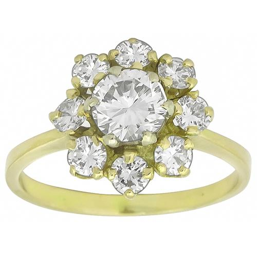 1.53ct Round Cut Diamond 14k Yellow Gold Cluster Ring