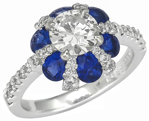 GIA Certified Round Brilliant Cut Diamond Pear Shape Sapphire 18k White Gold Engagement Ring
