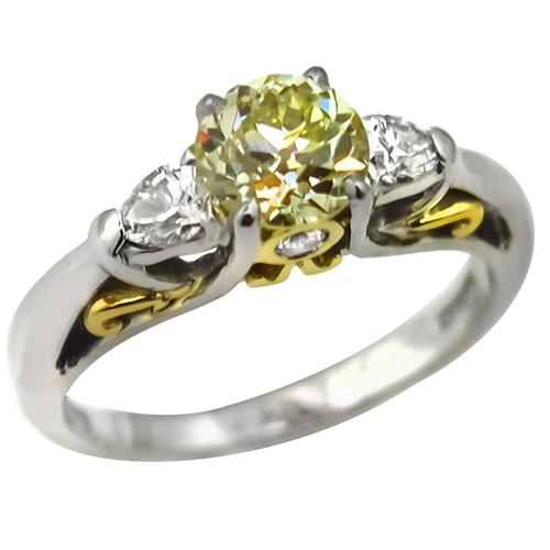EGL Certfified Old European Cut   Natural Fancy  Diamond Platinum & 18k Yellow Gold Engagement Ring