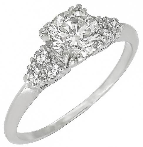 0.94ct Round Brilliant Cut Diamond 0.20ct Round Cut Diamond Platinum Engagement Ring