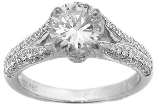 GIA Certified 0.98ct Diamond 18k White Gold Engagement Ring