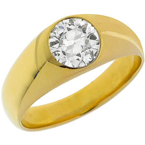 Estate 0.99ct Old Mine Cut  Diamond 18k Yellow Gold Ring