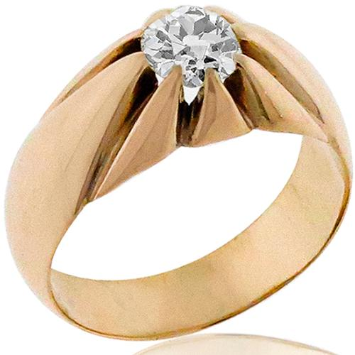 Antique 1.00ct Diamond Solitaire Gold Ring