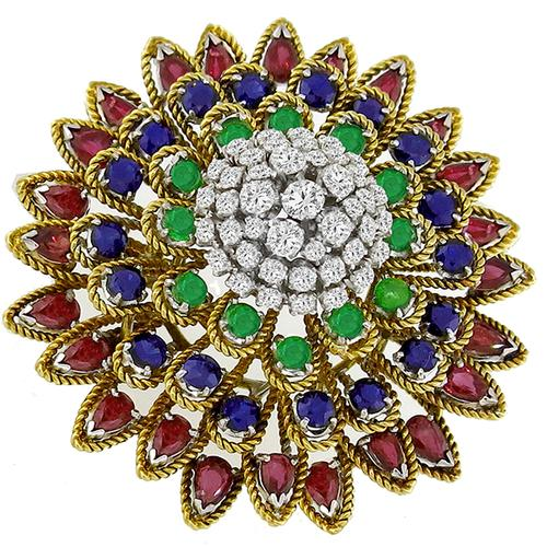 1.50ct Diamond, Sapphire, Emerald & Ruby Gold Circle Pin