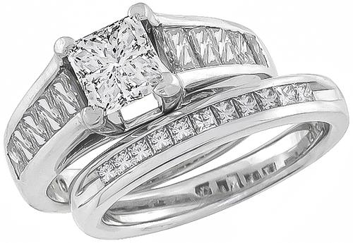 GIA Certified Princess Cut Center Diamond Platinum Engagement Ring and 14k White Gold Wedding Band Set