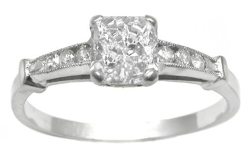 Estate Diamond Engagement Ring GIA Cert. 1 Ct.   Rectangular Diamond