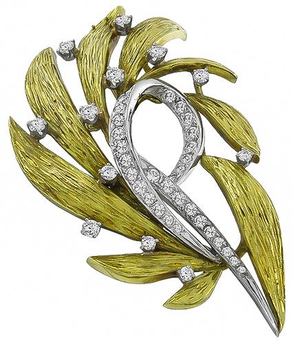 Round Cut Diamond 18k Yellow and White Gold Olive Leaves Pin