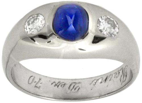 1.00ct Cabochon Sapphire Diamond  Gypsy 18k White Gold  Ring