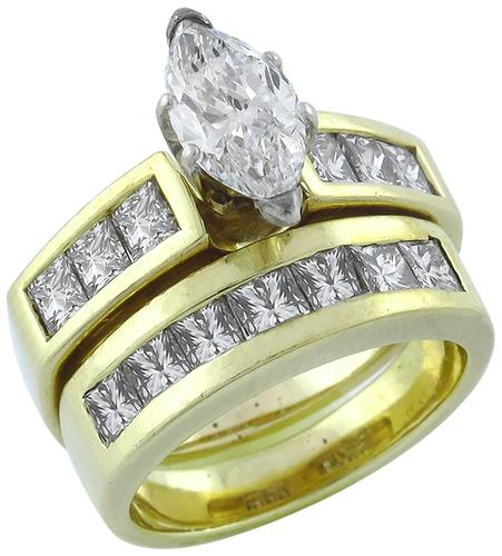 Marquise and Princess Cut Diamond 14k Yellow Gold Engagement Ring and Wedding Band Set