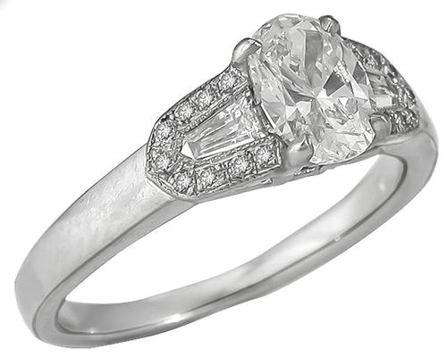 1.01ct Oval Cut Diamond GIA certified 0.40ct Bullet and Round Cut Diamond Platinum Engagement Ring