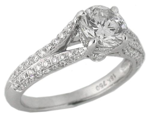 GIA Certified 1.02ct Diamond 18k White Gold Engagement Ring