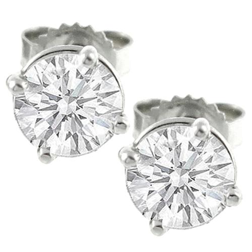 Estate 1.06ct Round Diamond Studs  14k White Gold  Earrings