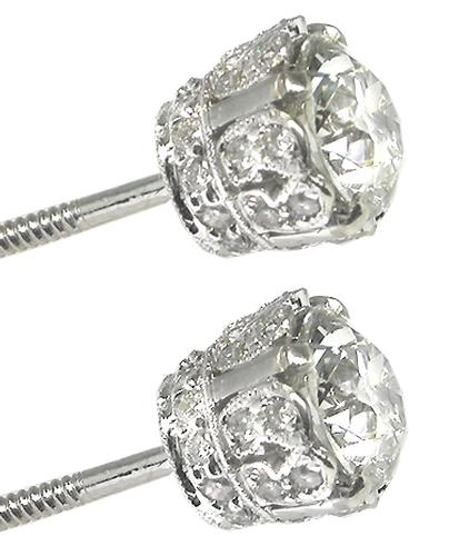 Old Mine Cut Diamond 18k White Gold Stud Earrings