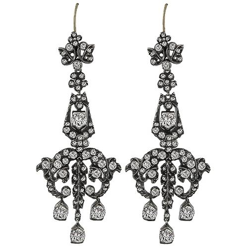 Antique Old Mine Cut Diamond Silver Chandelier Earrings