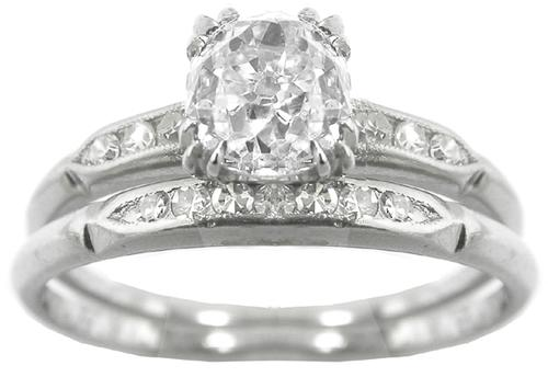 GIA Certified Diamond Platinum Engagement Ring And Wedding Band Set