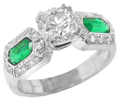 Vintage Diamond Emerald Engagement Ring GIA Certified