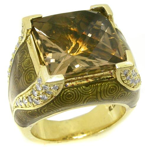 12.00ct Square Chequered  Board Smoky Topaz Diamond Enamel 18k Yellow Gold Ring