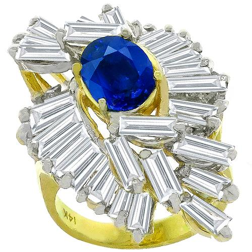 2.50ct Sapphire 4.00ct Diamond Gold Ring