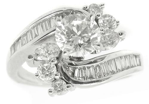1.25ct Round Diamond 14k White Gold Cocktail  Ring