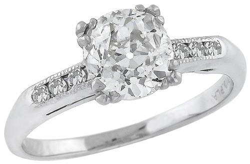 Old Mine Cut Diamond Platinum Engagement Ring