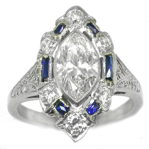 Antique Plat. Diamond Sapphire Ring 1.28ct. Marquise Brilliant cut GIA Certified