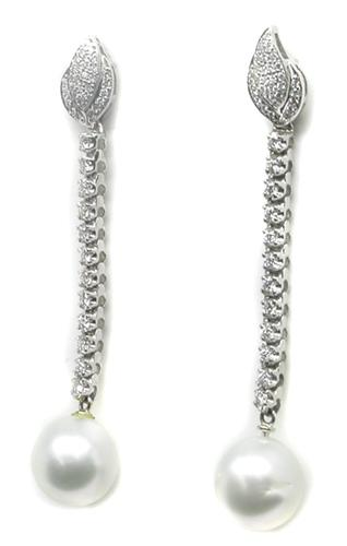 Pearl Round Cut Diamond 14k White Gold Earrings