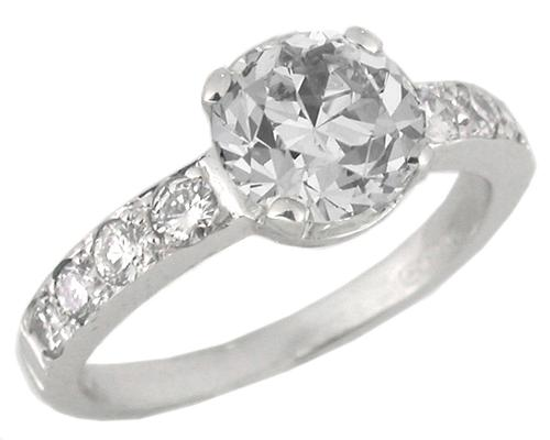 1.41ct Old European Diamond 18k White Gold Engagement Ring