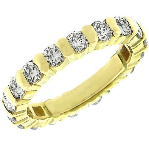 Estate 1.45ct Diamond Eternity 14k Yellow Gold Wedding Band