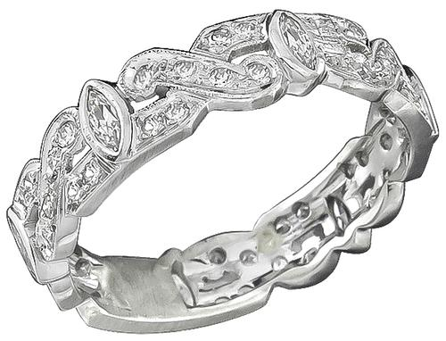 Marquise and Round Cut Diamond Platinum Wedding Band