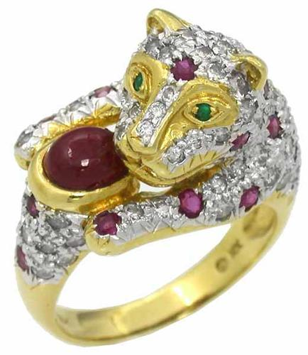 1.00ct Cabochon Ruby 0.50ct Round Cut Ruby 1.30ct Diamond Emerald 18k Yellow and White Gold Ring