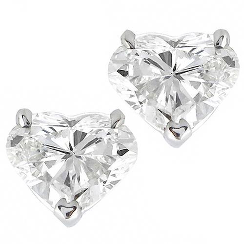 Estate 1 55ct Heart Shape Diamond 14k White Gold Stud Earrings