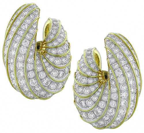 Vintage Round Cut Diamond 18k Yellow and White Gold Earrings