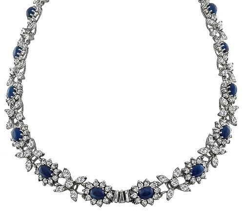 Cabochon Sapphire Marquise and Round Cut Diamond 14k White Gold Necklace