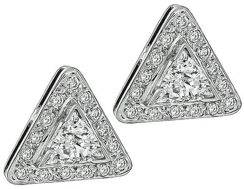 Trilliant and Round Cut Diamond 14k White Gold Earrings