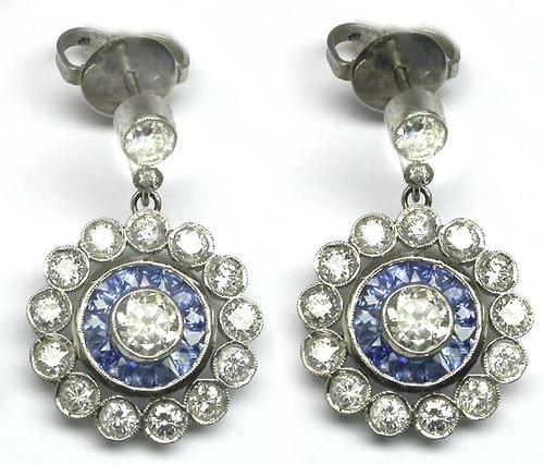 Round Cut Diamond French Cut Sapphire Platinum Earrings