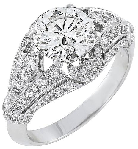 EGL Certified Round Brilliant Cut Diamond 18k White Gold Engagement Ring