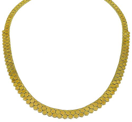 18k Yellow Gold Retro Necklace