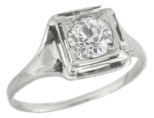 Antique 0.50ct Old European Diamond 14k White Gold Engagement Ring