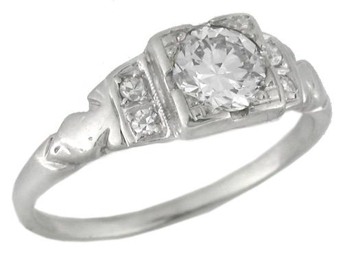 1910s 0.50ct Round Cut Diamond 14k White Gold Engagement Ring